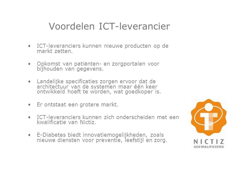 Voordelen ICT-leverancier ICT-leveranciers kunnen nieuwe producten op de markt zetten. Opkomst van patiënten- en zorgportalen voor bijhouden van gegev
