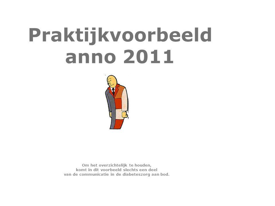 Praktijkvoorbeeld anno 2011 Om het overzichtelijk te houden, komt in dit voorbeeld slechts een deel van de communicatie in de diabeteszorg aan bod.