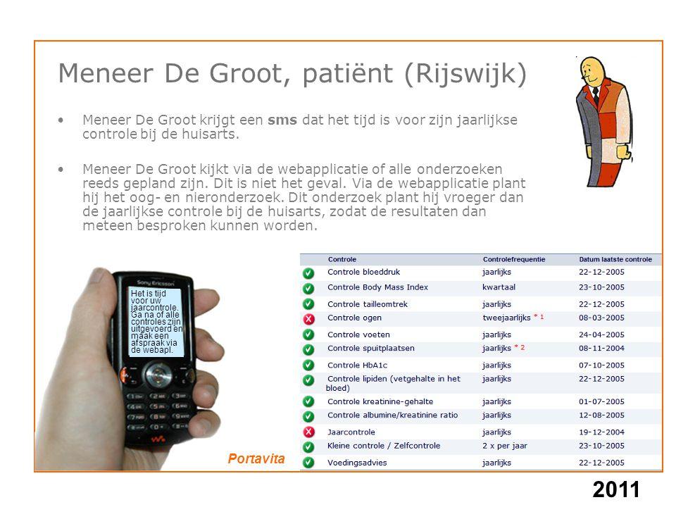 2011 Meneer De Groot, patiënt (Rijswijk) Meneer De Groot krijgt een sms dat het tijd is voor zijn jaarlijkse controle bij de huisarts. Meneer De Groot