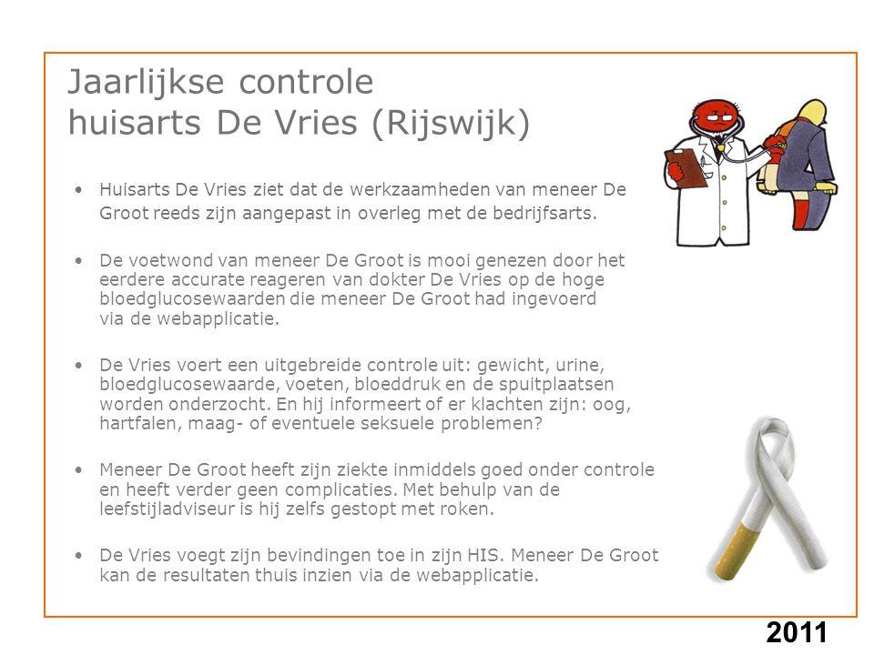 2011 Huisarts De Vries ziet dat de werkzaamheden van meneer De Groot reeds zijn aangepast in overleg met de bedrijfsarts. De voetwond van meneer De Gr
