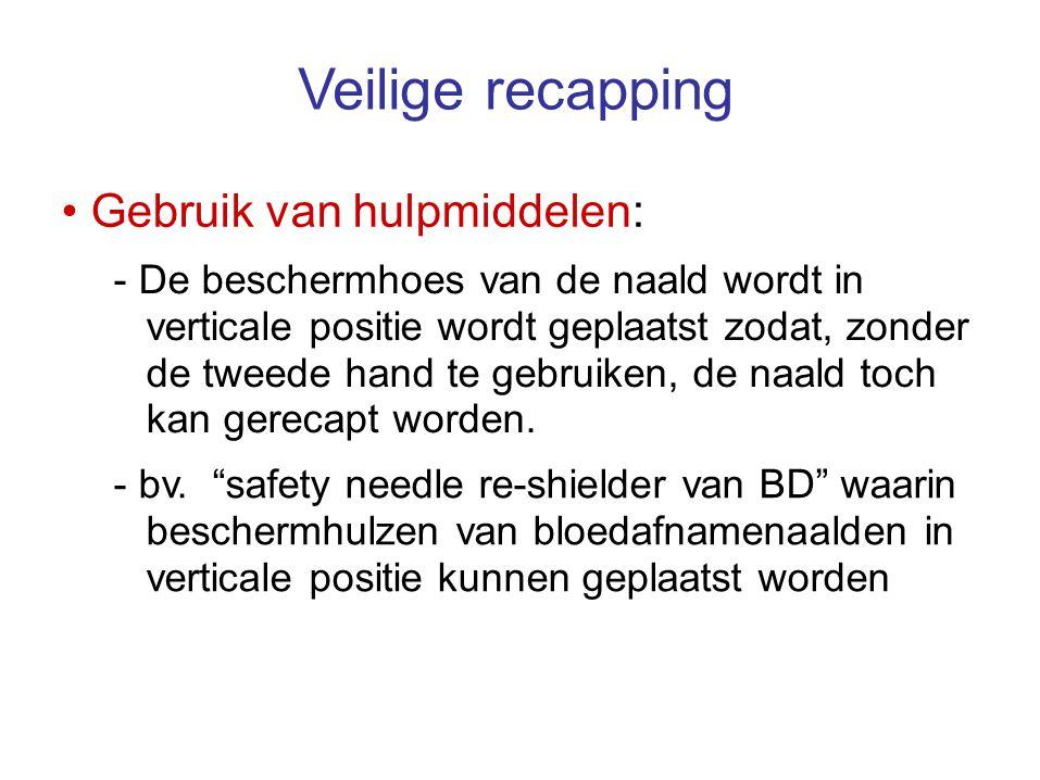 Veilige recapping Gebruik van hulpmiddelen: - De beschermhoes van de naald wordt in verticale positie wordt geplaatst zodat, zonder de tweede hand te