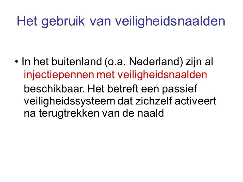 Het gebruik van veiligheidsnaalden In het buitenland (o.a. Nederland) zijn al injectiepennen met veiligheidsnaalden beschikbaar. Het betreft een passi