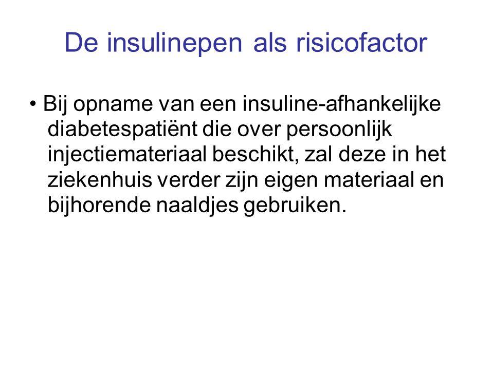 De insulinepen als risicofactor Bij opname van een insuline-afhankelijke diabetespatiënt die over persoonlijk injectiemateriaal beschikt, zal deze in