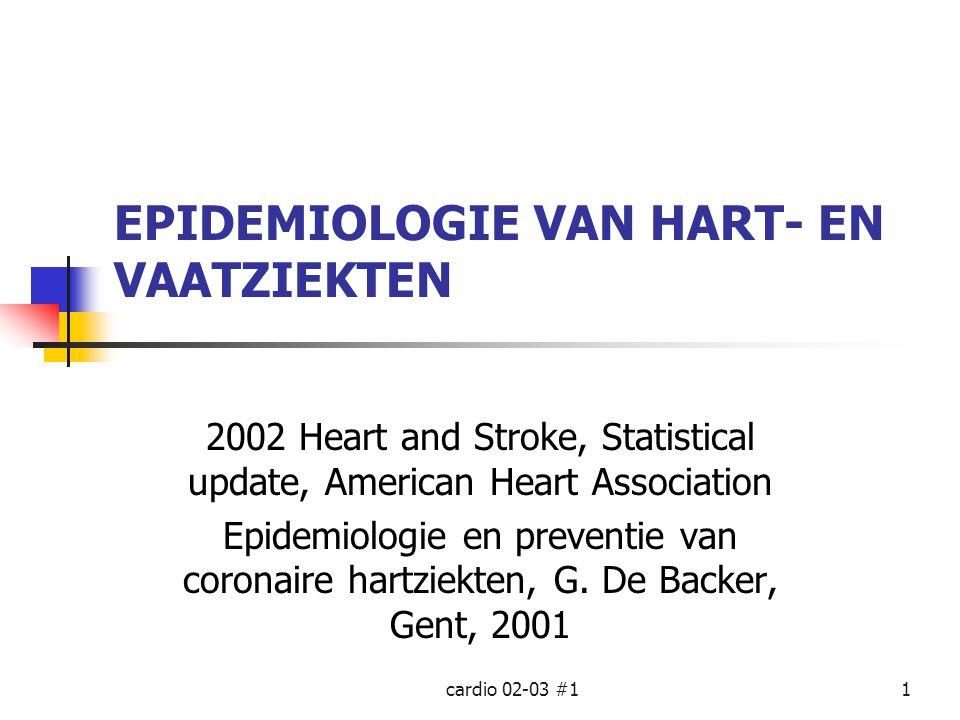cardio 02-03 #11 EPIDEMIOLOGIE VAN HART- EN VAATZIEKTEN 2002 Heart and Stroke, Statistical update, American Heart Association Epidemiologie en prevent