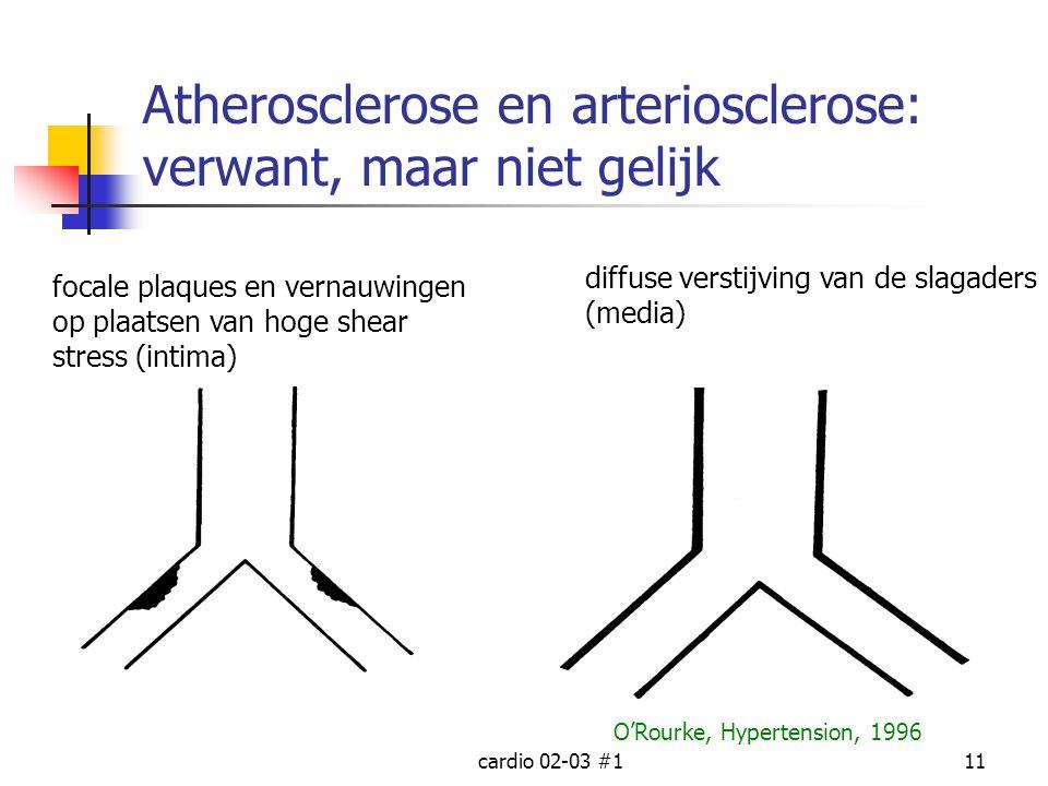 cardio 02-03 #111 Atherosclerose en arteriosclerose: verwant, maar niet gelijk focale plaques en vernauwingen op plaatsen van hoge shear stress (intim