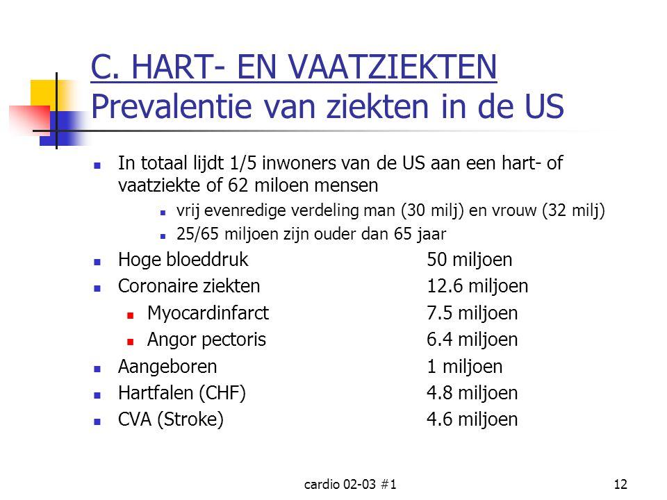 cardio 02-03 #112 C. HART- EN VAATZIEKTEN Prevalentie van ziekten in de US In totaal lijdt 1/5 inwoners van de US aan een hart- of vaatziekte of 62 mi