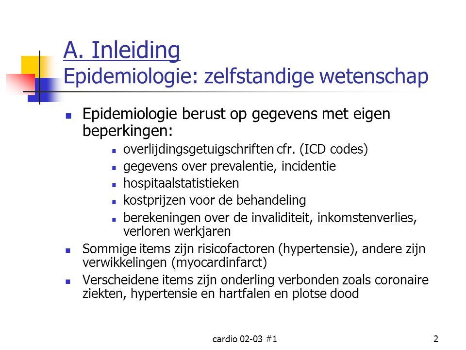 cardio 02-03 #12 A. Inleiding Epidemiologie: zelfstandige wetenschap Epidemiologie berust op gegevens met eigen beperkingen: overlijdingsgetuigschrift