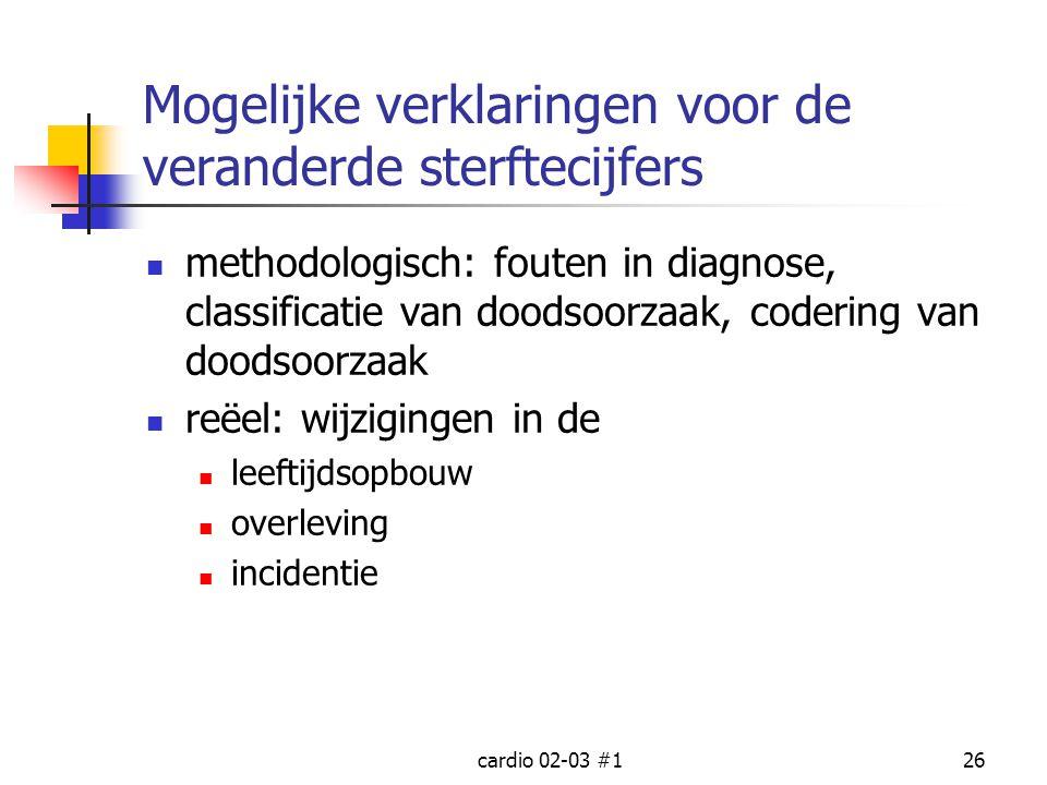 cardio 02-03 #126 Mogelijke verklaringen voor de veranderde sterftecijfers methodologisch: fouten in diagnose, classificatie van doodsoorzaak, coderin
