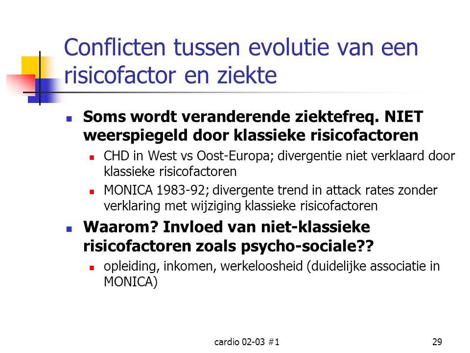 cardio 02-03 #129 Conflicten tussen evolutie van een risicofactor en ziekte Soms wordt veranderende ziektefreq. NIET weerspiegeld door klassieke risic