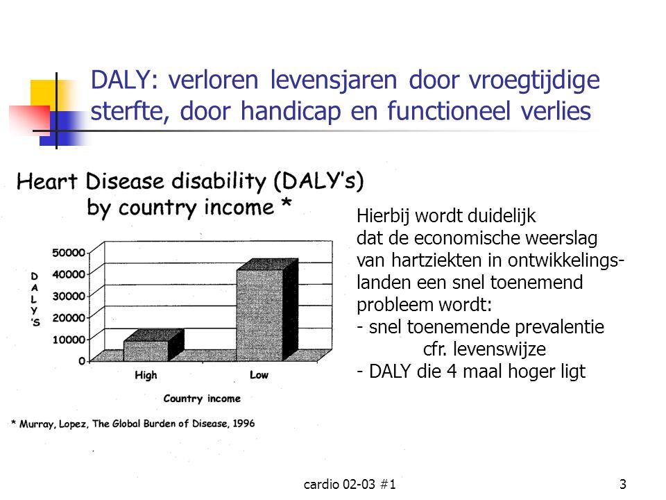 cardio 02-03 #13 DALY: verloren levensjaren door vroegtijdige sterfte, door handicap en functioneel verlies Hierbij wordt duidelijk dat de economische
