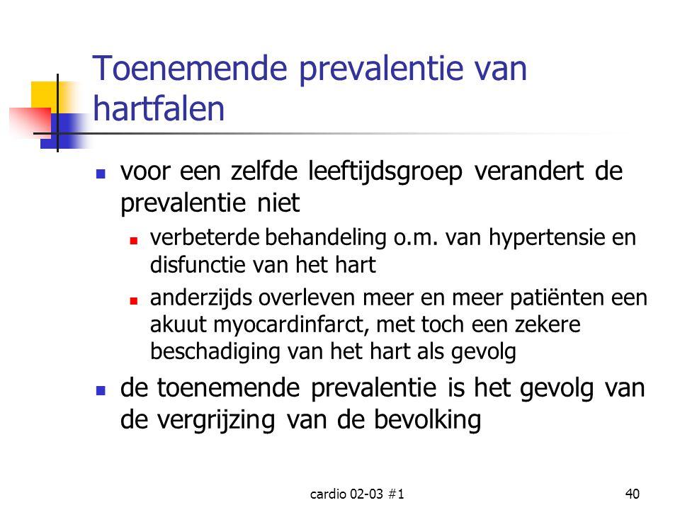 cardio 02-03 #140 Toenemende prevalentie van hartfalen voor een zelfde leeftijdsgroep verandert de prevalentie niet verbeterde behandeling o.m. van hy