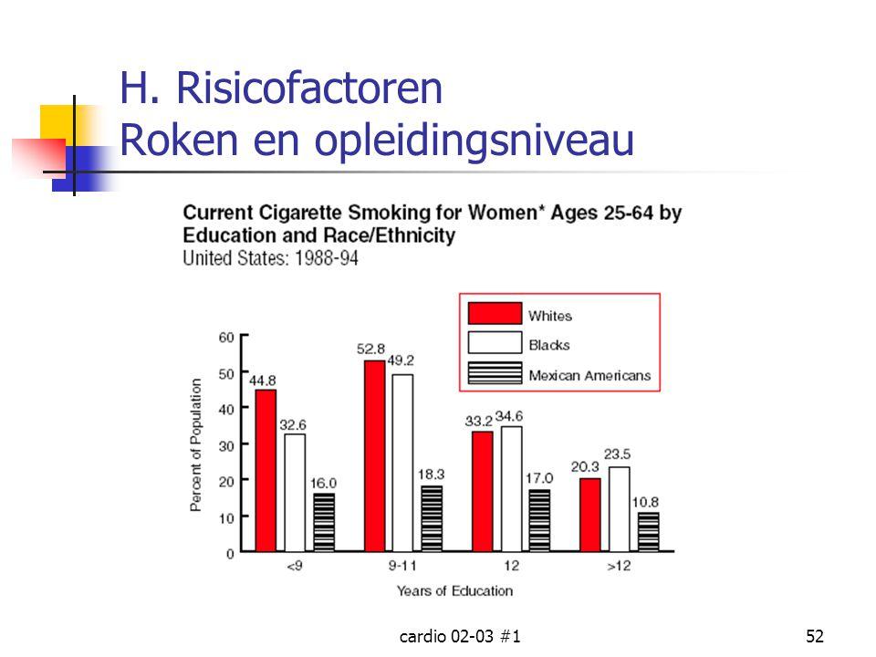 cardio 02-03 #152 H. Risicofactoren Roken en opleidingsniveau