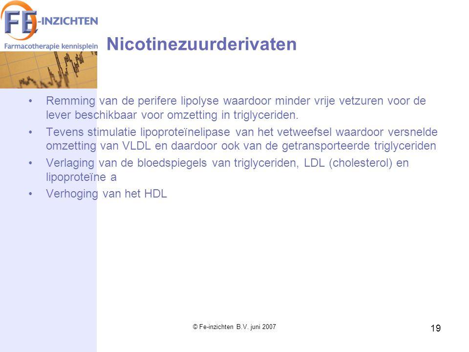 © Fe-inzichten B.V. juni 2007 19 Nicotinezuurderivaten Remming van de perifere lipolyse waardoor minder vrije vetzuren voor de lever beschikbaar voor