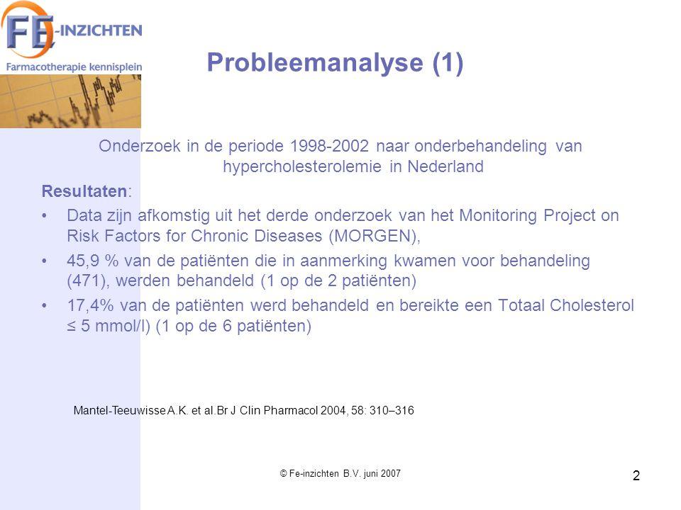 © Fe-inzichten B.V. juni 2007 2 Onderzoek in de periode 1998-2002 naar onderbehandeling van hypercholesterolemie in Nederland Resultaten: Data zijn af