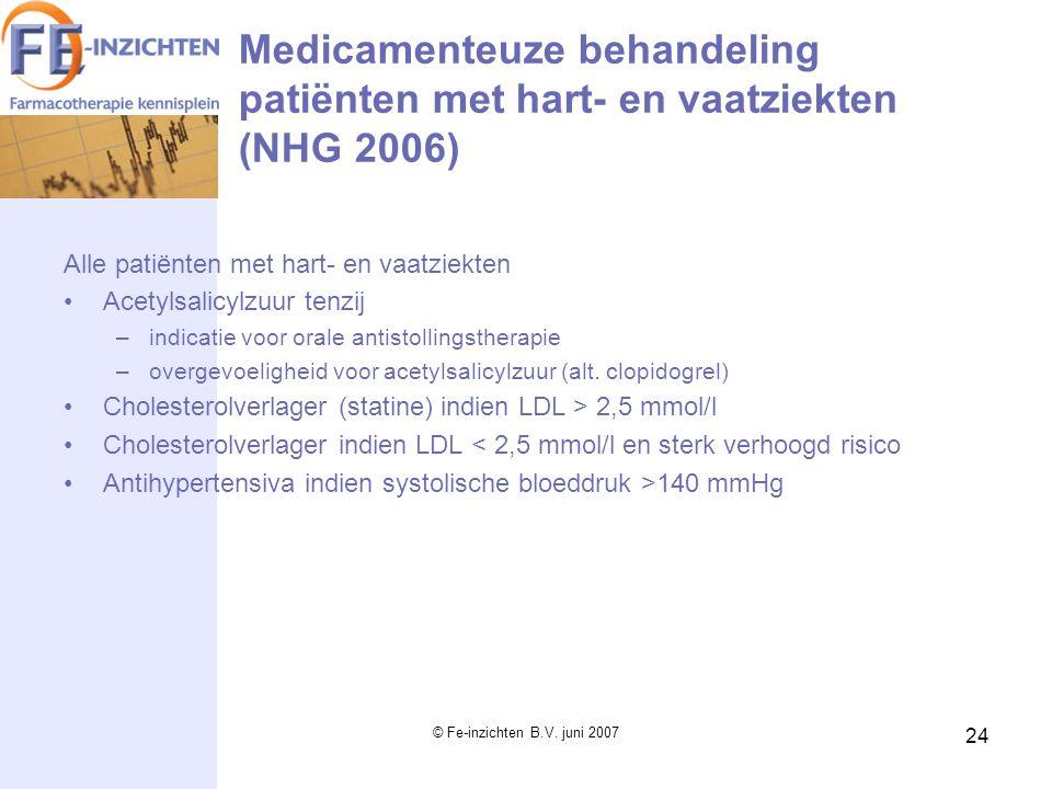 © Fe-inzichten B.V. juni 2007 24 Medicamenteuze behandeling patiënten met hart- en vaatziekten (NHG 2006) Alle patiënten met hart- en vaatziekten Acet