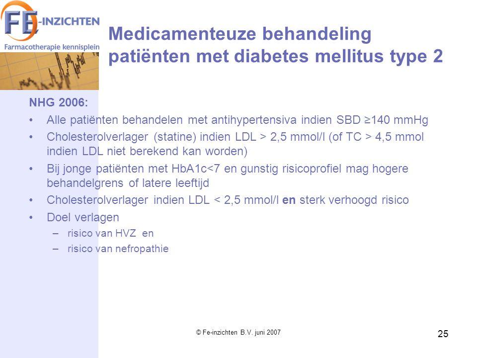 © Fe-inzichten B.V. juni 2007 25 Medicamenteuze behandeling patiënten met diabetes mellitus type 2 NHG 2006: Alle patiënten behandelen met antihyperte