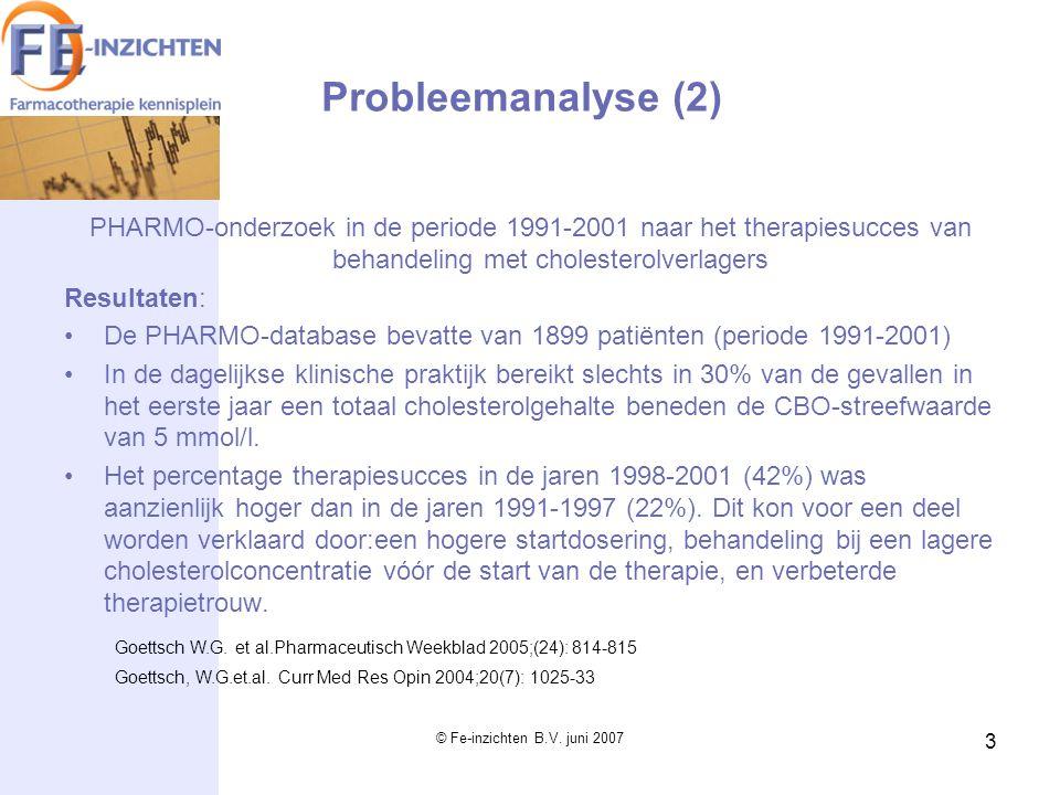 © Fe-inzichten B.V. juni 2007 3 PHARMO-onderzoek in de periode 1991-2001 naar het therapiesucces van behandeling met cholesterolverlagers Resultaten: