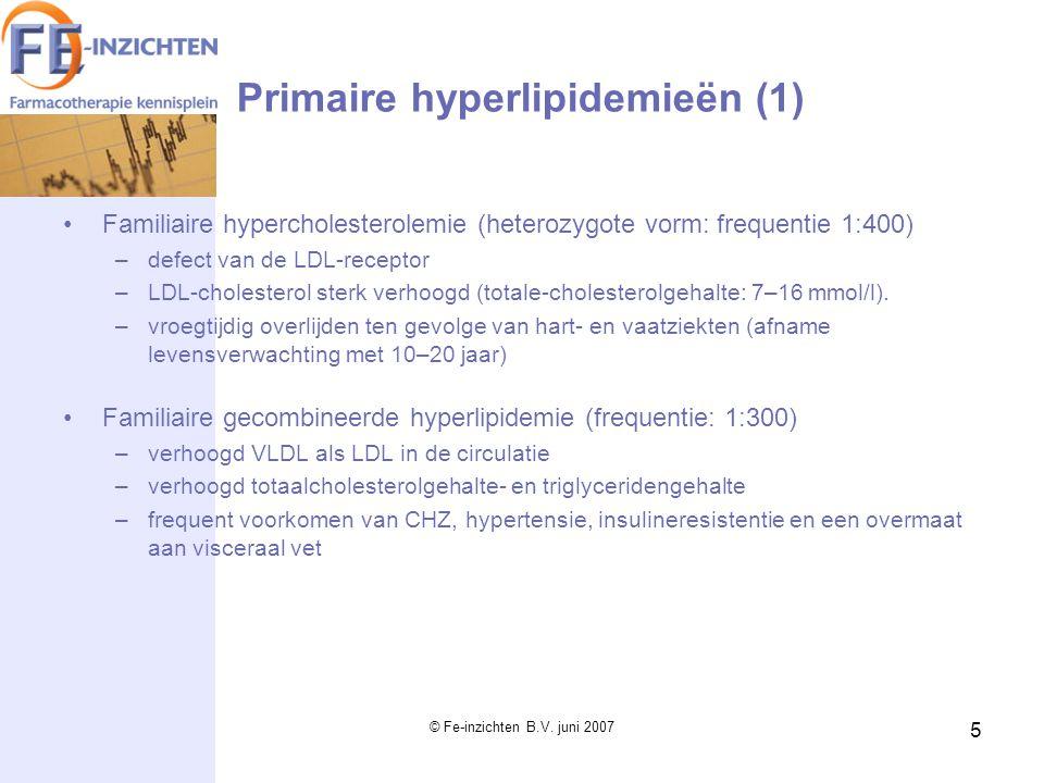 © Fe-inzichten B.V. juni 2007 5 Primaire hyperlipidemieën (1) Familiaire hypercholesterolemie (heterozygote vorm: frequentie 1:400) –defect van de LDL