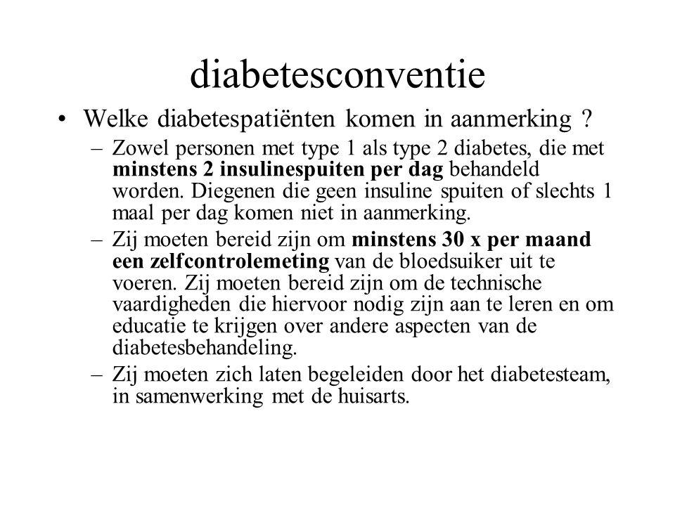 diabetesconventie Welke diabetespatiënten komen in aanmerking ? –Zowel personen met type 1 als type 2 diabetes, die met minstens 2 insulinespuiten per