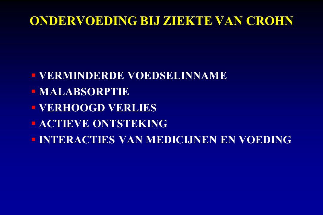 ONDERVOEDING BIJ ZIEKTE VAN CROHN  VERMINDERDE VOEDSELINNAME  MALABSORPTIE  VERHOOGD VERLIES  ACTIEVE ONTSTEKING  INTERACTIES VAN MEDICIJNEN EN VOEDING
