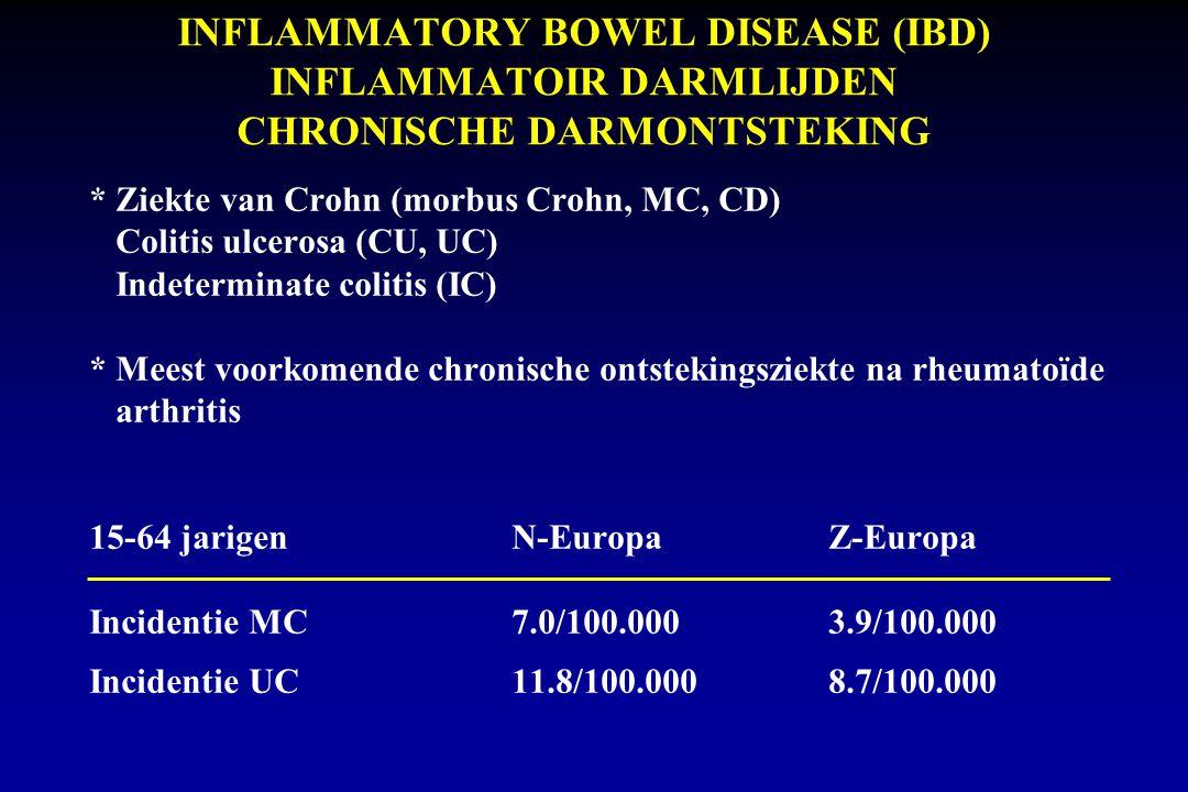 INFLAMMATORY BOWEL DISEASE (IBD) INFLAMMATOIR DARMLIJDEN CHRONISCHE DARMONTSTEKING * Ziekte van Crohn (morbus Crohn, MC, CD) Colitis ulcerosa (CU, UC) Indeterminate colitis (IC) * Meest voorkomende chronische ontstekingsziekte na rheumatoïde arthritis 15-64 jarigenN-EuropaZ-Europa Incidentie MC7.0/100.0003.9/100.000 Incidentie UC11.8/100.0008.7/100.000