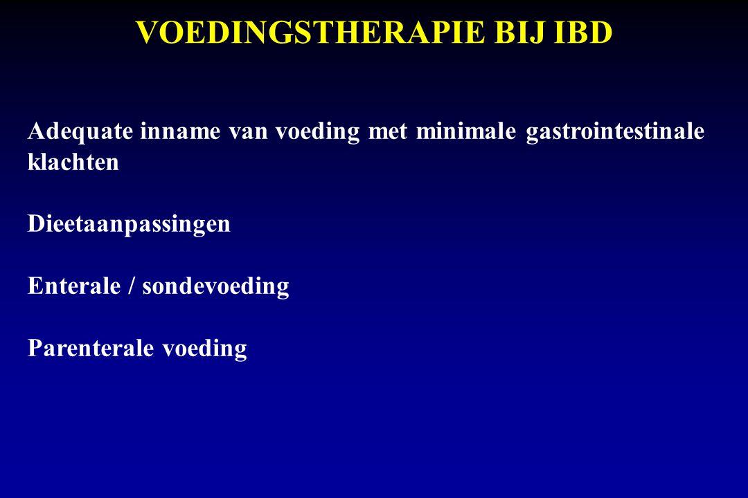 VOEDINGSTHERAPIE BIJ IBD Adequate inname van voeding met minimale gastrointestinale klachten Dieetaanpassingen Enterale / sondevoeding Parenterale voeding