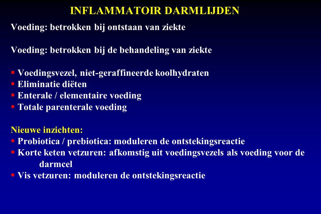 INFLAMMATOIR DARMLIJDEN Voeding: betrokken bij ontstaan van ziekte Voeding: betrokken bij de behandeling van ziekte  Voedingsvezel, niet-geraffineerde koolhydraten  Eliminatie diëten  Enterale / elementaire voeding  Totale parenterale voeding Nieuwe inzichten:  Probiotica / prebiotica: moduleren de ontstekingsreactie  Korte keten vetzuren: afkomstig uit voedingsvezels als voeding voor de darmcel  Vis vetzuren: moduleren de ontstekingsreactie
