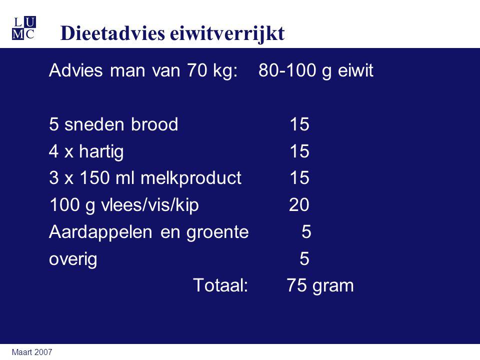 Maart 2007 Dieetadvies eiwitverrijkt Advies man van 70 kg: 80-100 g eiwit 5 sneden brood15 4 x hartig15 3 x 150 ml melkproduct 15 100 g vlees/vis/kip2
