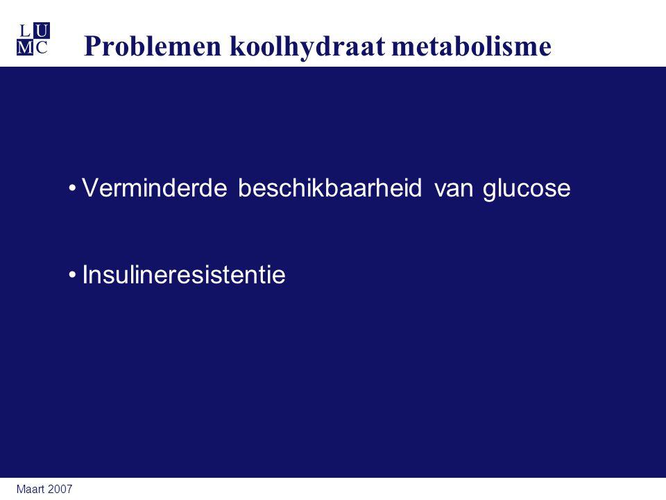 Maart 2007 Problemen koolhydraat metabolisme Verminderde beschikbaarheid van glucose Insulineresistentie