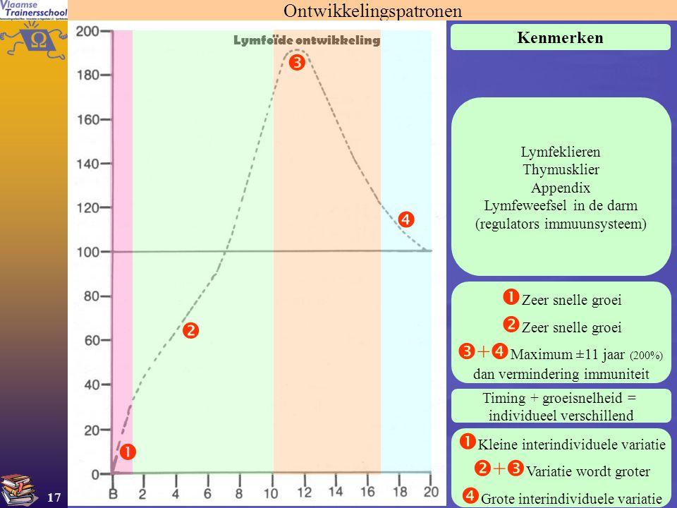 17 Ontwikkelingspatronen Lymfoïde ontwikkeling Kenmerken Lymfeklieren Thymusklier Appendix Lymfeweefsel in de darm (regulators immuunsysteem)  Zeer s