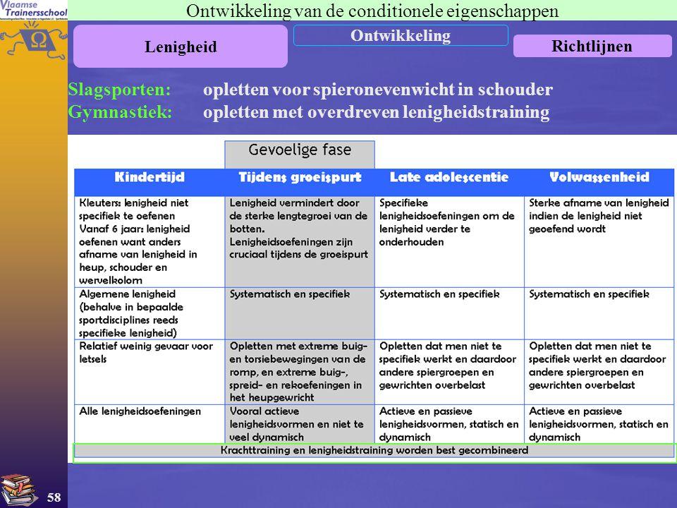 58 Ontwikkeling van de conditionele eigenschappen Lenigheid Ontwikkeling Richtlijnen Slagsporten: opletten voor spieronevenwicht in schouder Gymnastie