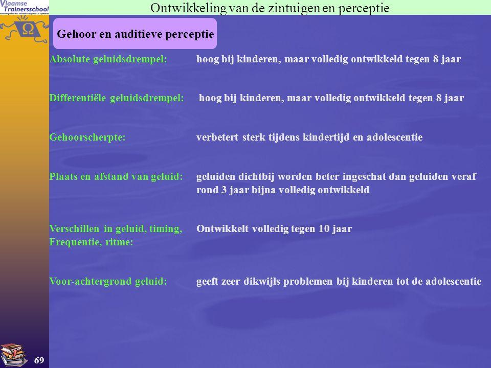 69 Gehoor en auditieve perceptie Ontwikkeling van de zintuigen en perceptie Absolute geluidsdrempel:hoog bij kinderen, maar volledig ontwikkeld tegen