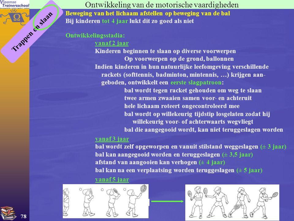 78 Ontwikkeling van de motorische vaardigheden Trappen en slaan Beweging van het lichaam afstellen op beweging van de bal Bij kinderen tot 4 jaar lukt