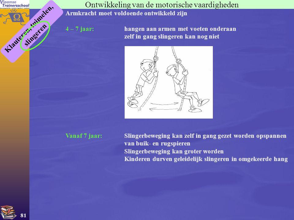 81 Ontwikkeling van de motorische vaardigheden Klauteren, tuimelen, slingeren Armkracht moet voldoende ontwikkeld zijn 4 – 7 jaar:hangen aan armen met