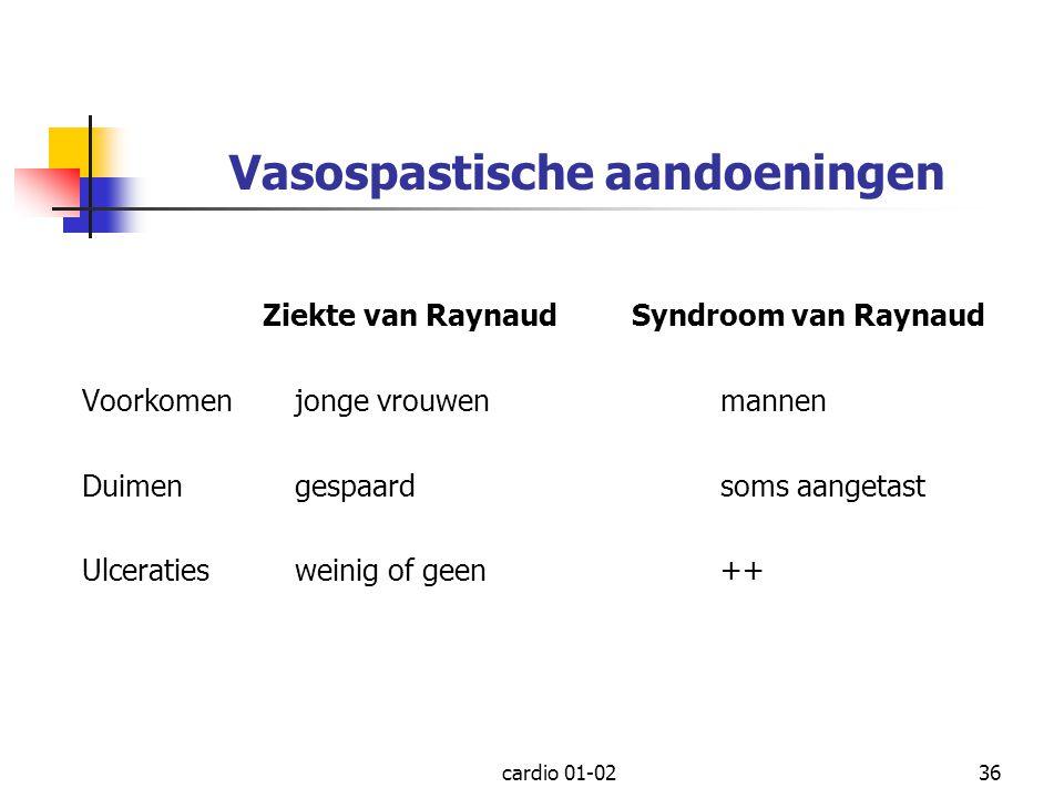 cardio 01-0236 Vasospastische aandoeningen Ziekte van Raynaud Syndroom van Raynaud Voorkomenjonge vrouwenmannen Duimengespaardsoms aangetast Ulceratie