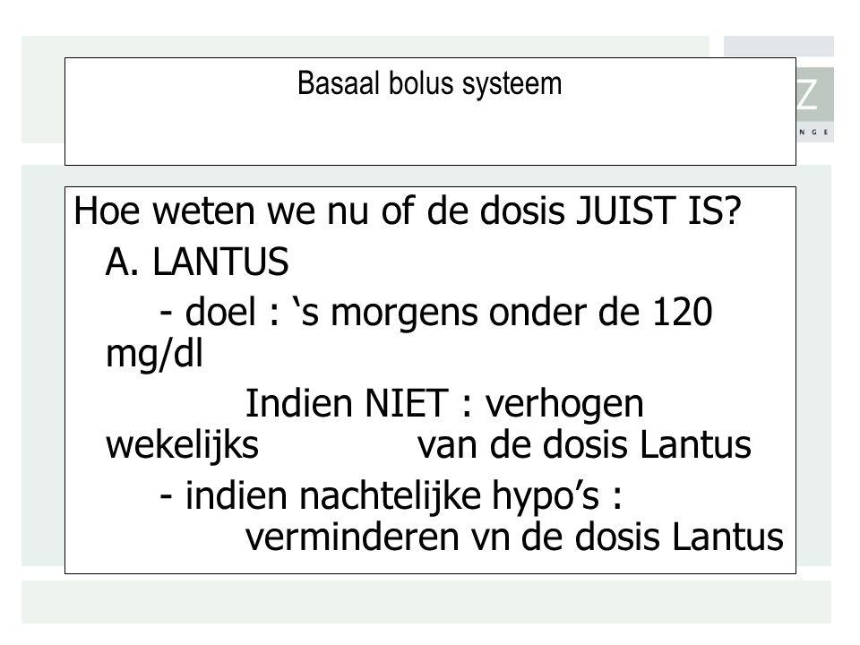Basaal bolus systeem Hoe weten we nu of de dosis JUIST IS.