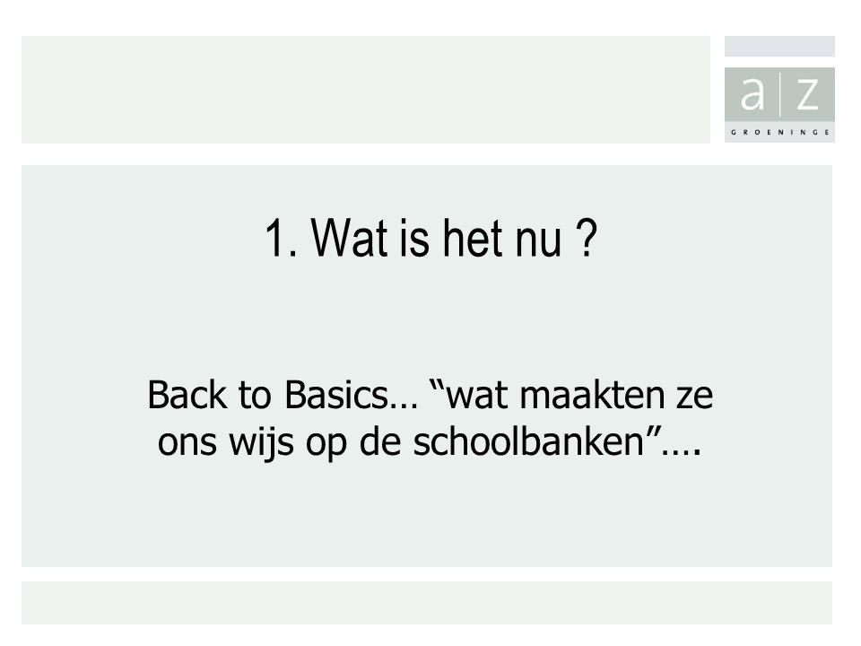 1. Wat is het nu ? Back to Basics… wat maakten ze ons wijs op de schoolbanken ….