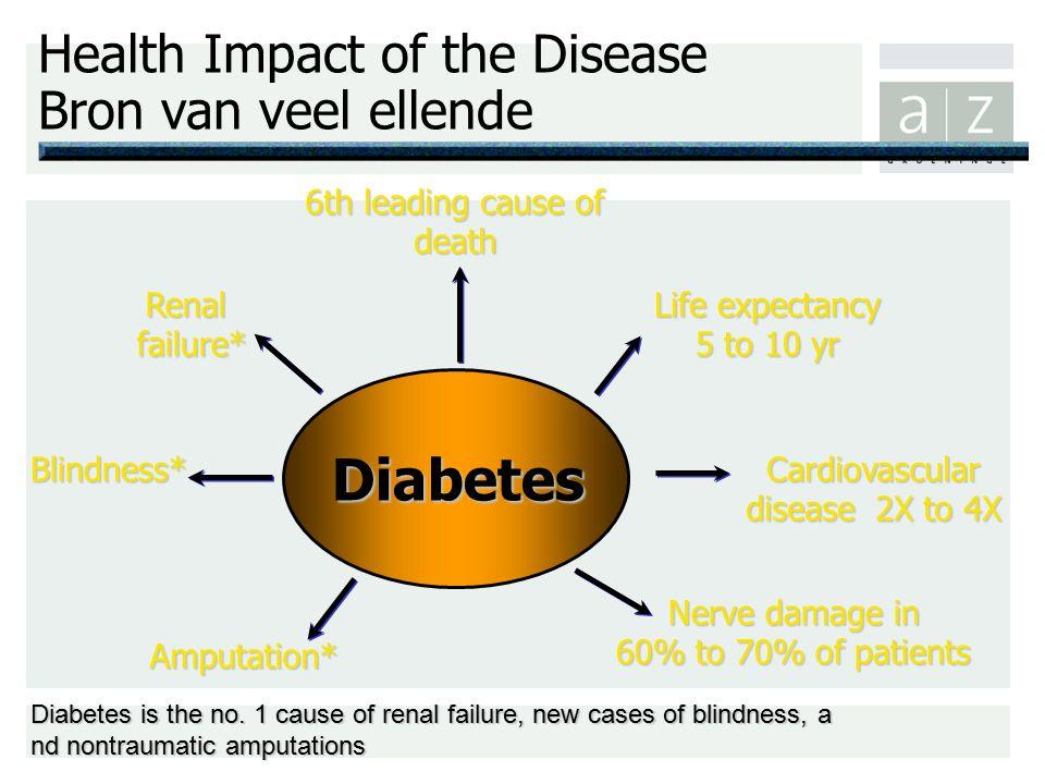 Health Impact of the Disease Bron van veel ellende Diabetes Blindness* Renal failure* Amputation* Life expectancy 5 to 10 yr Cardiovascular disease  2X to 4X Diabetes is the no.