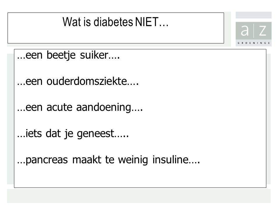 Wat is diabetes NIET… …een beetje suiker….…een ouderdomsziekte….