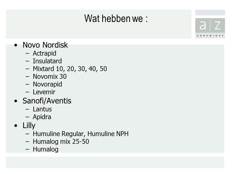 Wat hebben we : Novo Nordisk –Actrapid –Insulatard –Mixtard 10, 20, 30, 40, 50 –Novomix 30 –Novorapid –Levemir Sanofi/Aventis –Lantus –Apidra Lilly –Humuline Regular, Humuline NPH –Humalog mix 25-50 –Humalog