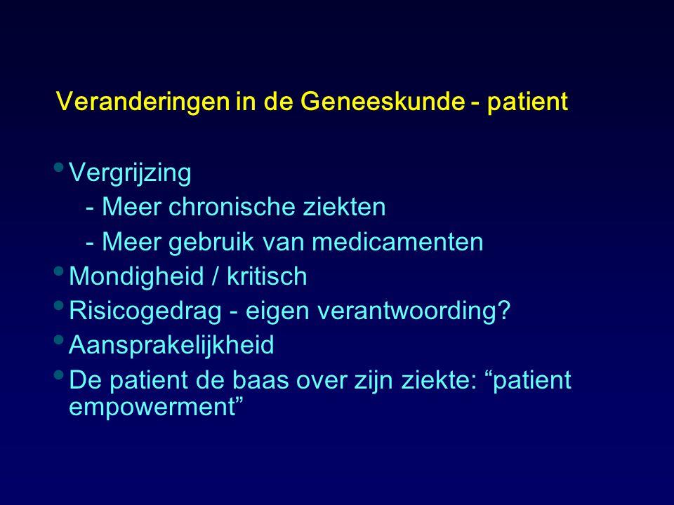 Veranderingen in de Geneeskunde - patient Vergrijzing - Meer chronische ziekten - Meer gebruik van medicamenten Mondigheid / kritisch Risicogedrag - e