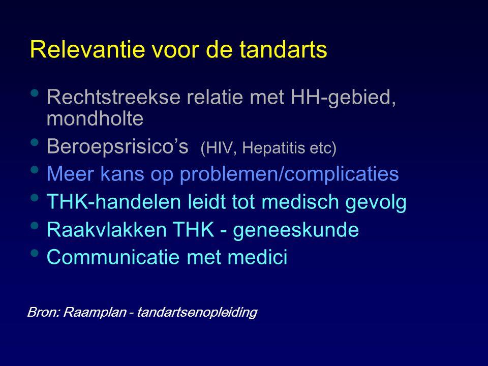 Relevantie voor de tandarts Rechtstreekse relatie met HH-gebied, mondholte Beroepsrisico's (HIV, Hepatitis etc) Meer kans op problemen/complicaties TH