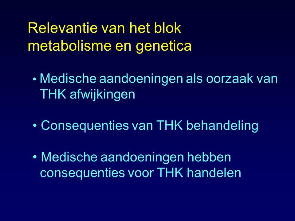 Relevantie van het blok metabolisme en genetica Medische aandoeningen als oorzaak van THK afwijkingen Consequenties van THK behandeling Medische aando