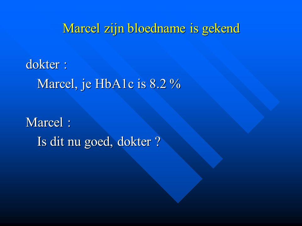 Marcel zijn bloedname is gekend dokter : Marcel, je HbA1c is 8.2 % Marcel : Is dit nu goed, dokter ?
