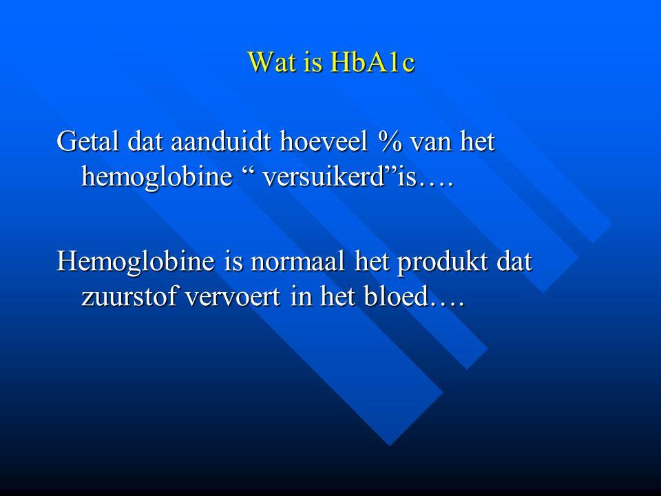 """Wat is HbA1c Getal dat aanduidt hoeveel % van het hemoglobine """" versuikerd""""is…. Hemoglobine is normaal het produkt dat zuurstof vervoert in het bloed…"""