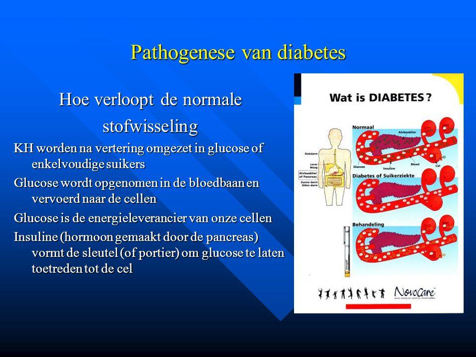 Pathogenese van diabetes Hoe verloopt de normale stofwisseling KH worden na vertering omgezet in glucose of enkelvoudige suikers Glucose wordt opgenom