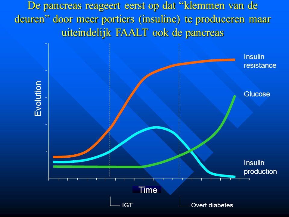 """De pancreas reageert eerst op dat """"klemmen van de deuren"""" door meer portiers (insuline) te produceren maar uiteindelijk FAALT ook de pancreas IGTOvert"""