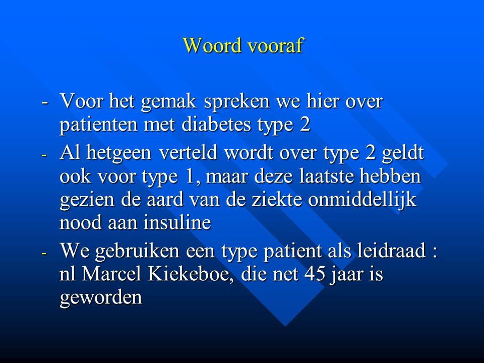 Woord vooraf -Voor het gemak spreken we hier over patienten met diabetes type 2 - Al hetgeen verteld wordt over type 2 geldt ook voor type 1, maar dez