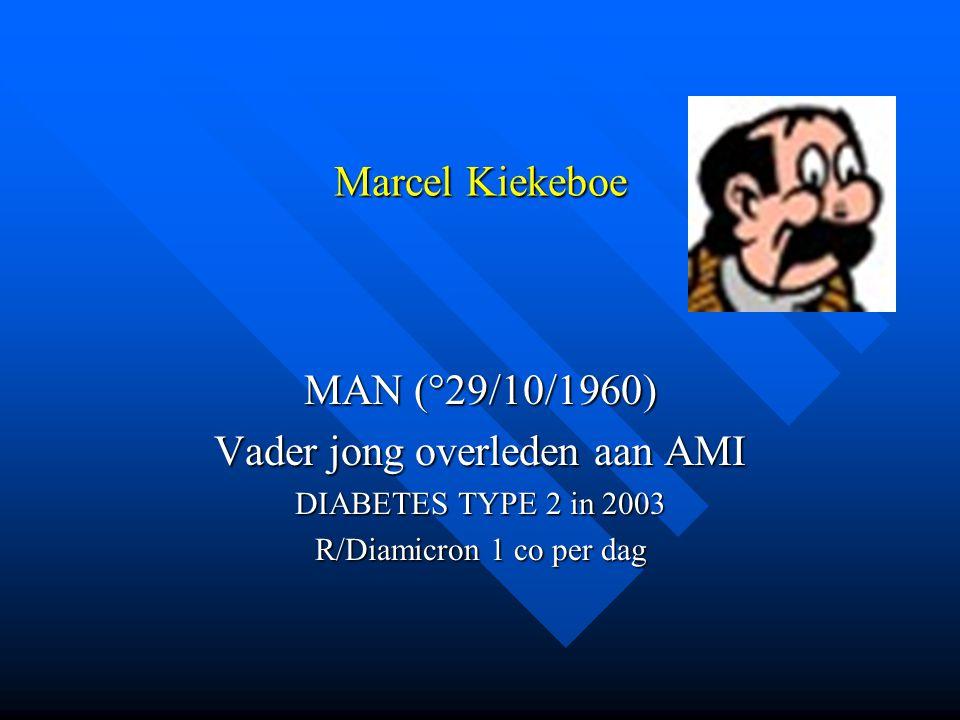 Marcel Kiekeboe MAN (°29/10/1960) Vader jong overleden aan AMI DIABETES TYPE 2 in 2003 R/Diamicron 1 co per dag