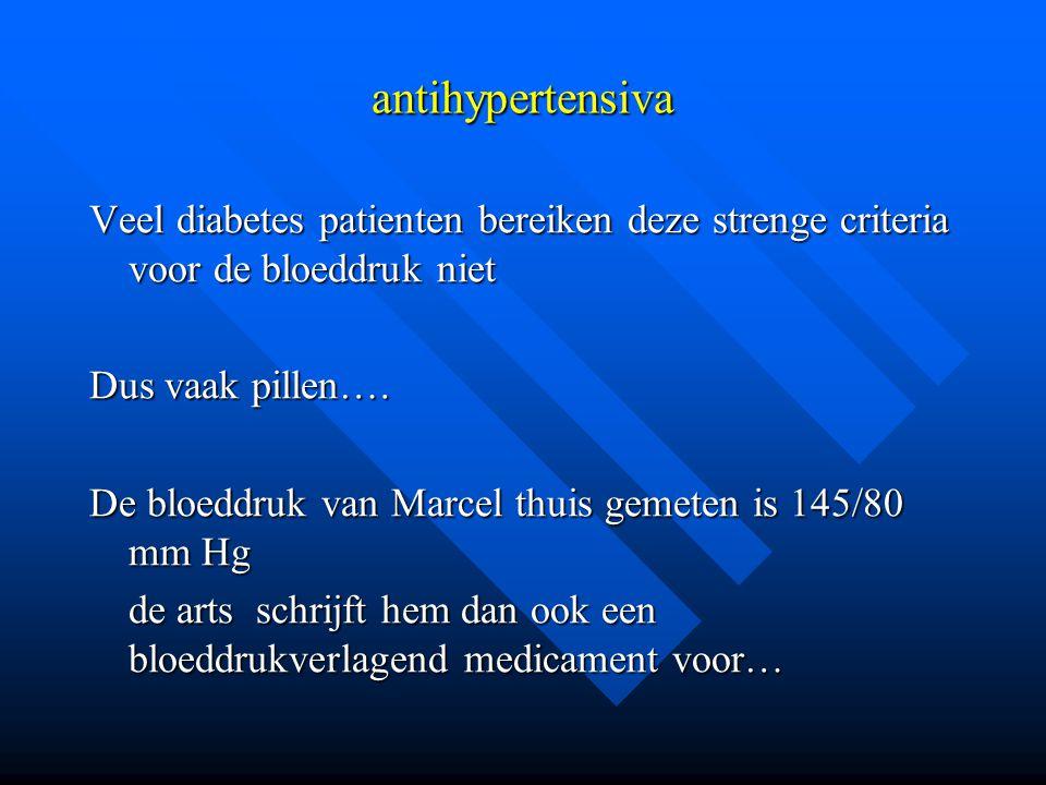 antihypertensiva Veel diabetes patienten bereiken deze strenge criteria voor de bloeddruk niet Dus vaak pillen…. De bloeddruk van Marcel thuis gemeten